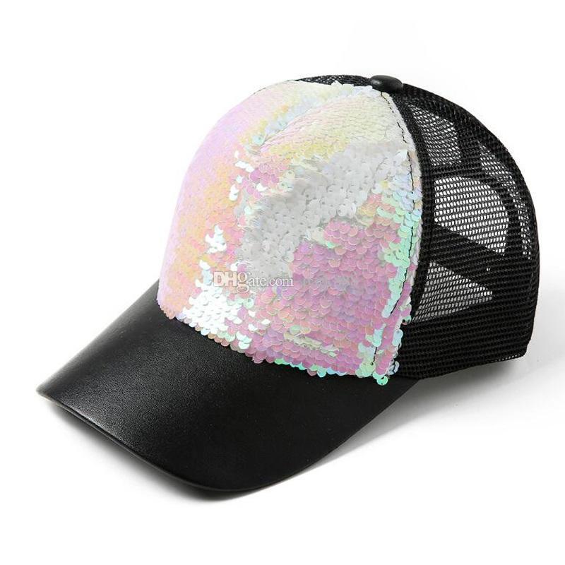 Fashion Mermaid Sequins Baseball Hats Summer Mesh Cap Casual Ball ... c43f56ea6f6