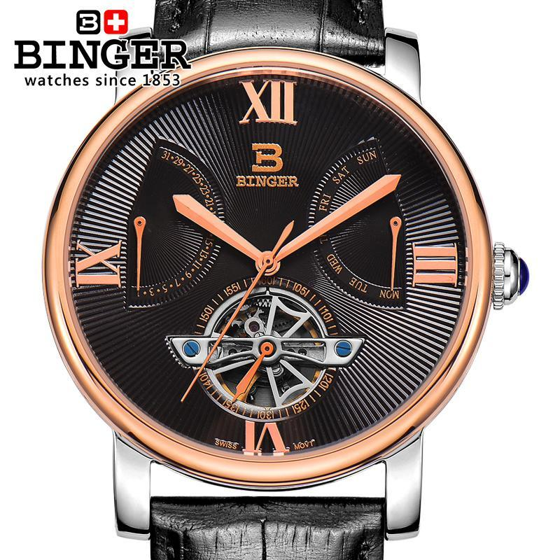 5823b95c100 Compre 2017 Suíça Men Watch Automático Mecânico Binger Marca De Luxo  Relógios De Ouro Masculino Relogio Masculino Sapphire Watch Bg 0408 De  A799956998