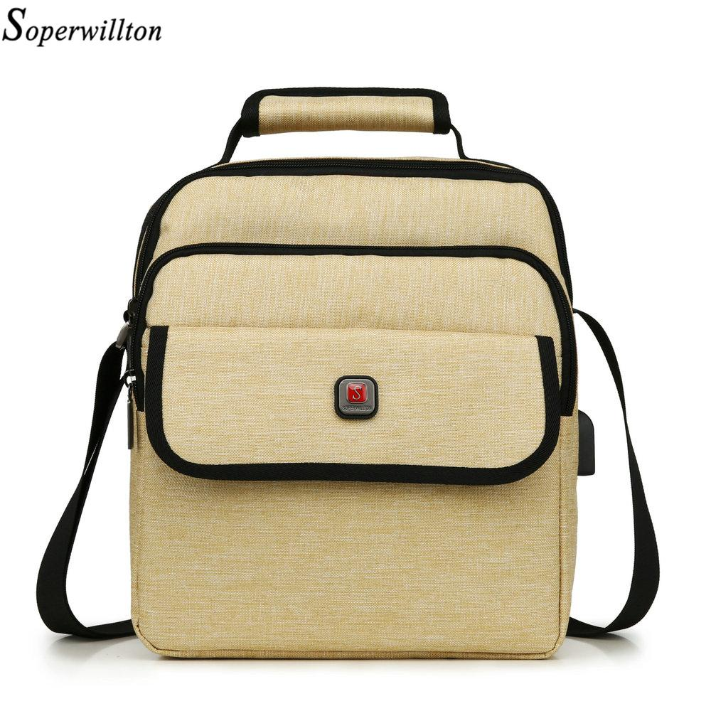 59976933e8 Shoulder Soperwillton Men Bag Flap PocketTotes Men Handbag Oxford ...