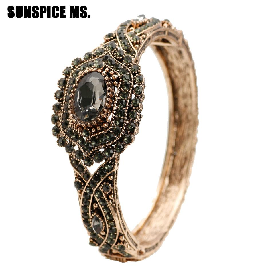 Bohemia Ethnic Full Gray Crystal Bracelet Bangle For Women Antique Gold  Turkey Flower Design Cuff Brazalete Hand Accessories New