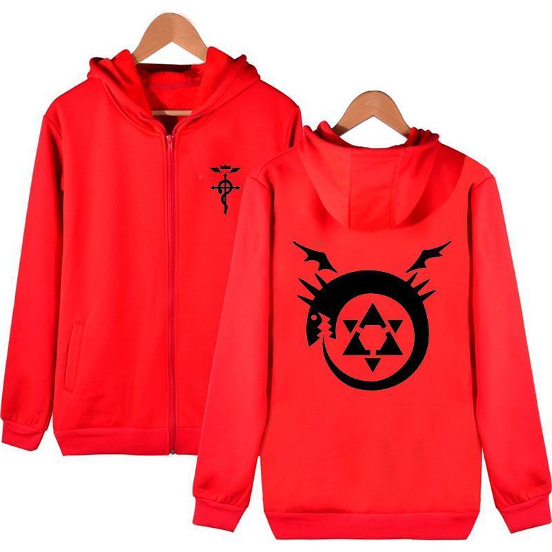 2019 High Q Unisex Fullmetal Alchemist Red Hooded Hoodie ...