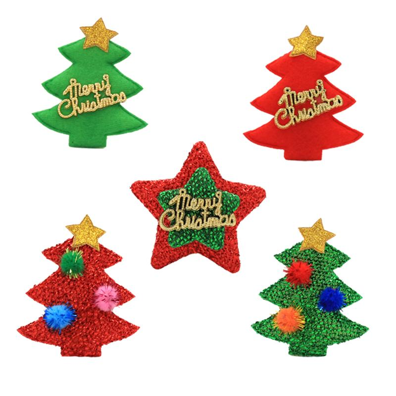 glitter christmas tree star falt back of felt applique for christmas embellishment crafts newborn baby girl hair accessories wholesale baby hair accessories