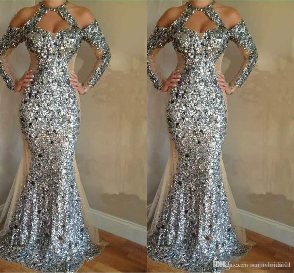 Luxurious Sequin Crystals Mermaid Evening Dresses 2018 Gorgeous Long Sleeve Halter Evening Gowns Unique Design Honorable Prom Dresses