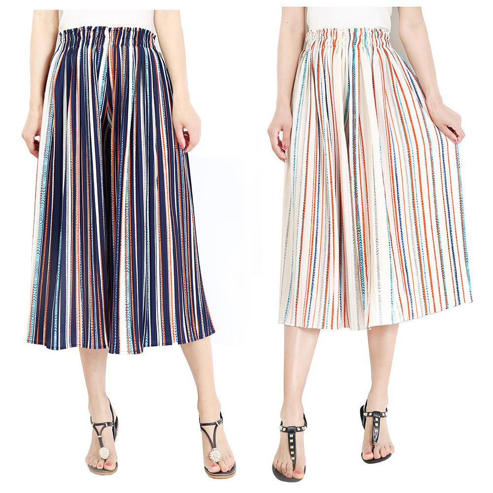 Compre Hit Color Rayas Verticales Pantalones Anchos De La Pierna De Las Mujeres  Elásticos De Cintura Alta Sueltos Pantalones Casuales Harajuku Gasa Plisada  ... 2f64e84b2e4d
