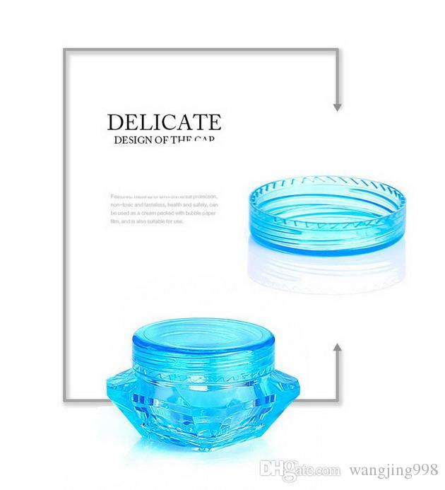 2000 Unids / lote 3g 5g Botella de plástico Frasco Vacío Rosa Azul Claro Gel Ojos Pequeña Muestra de Lápiz Labial Envases Cosméticos Vacíos