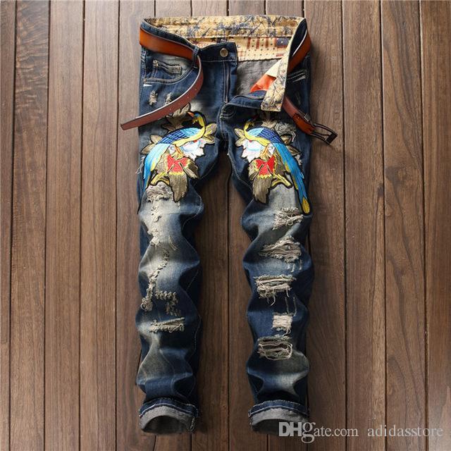 43ec50dde Compre Calças De Brim Dos Homens Famosa Marca Italiana De Luxo Subiu Calça  Jeans Slim Fit Mens Impresso Jeans Calças Jeans Biker De Adidasstore, ...