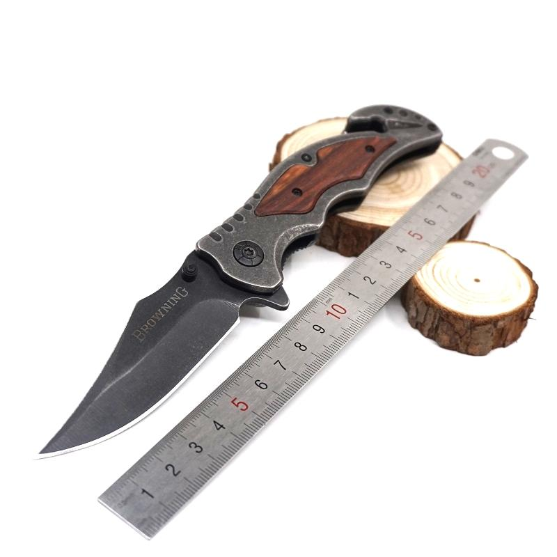 Survival Knives Stone Washed Pocket Folding Knife Cutting tool Tactical Knife Steel Blade Wood Handle Outdoor hunting camping Best Gife
