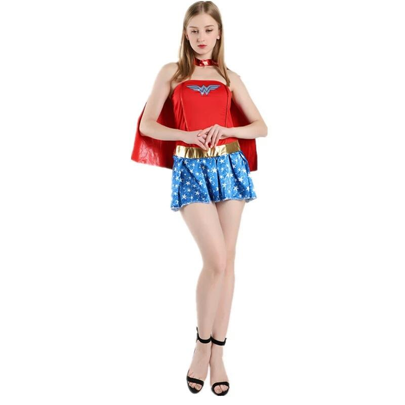 Hot Female Superhero Wonder Women Cosplay costumes Halloween Ladies Super Girl Princess Dress fancy ball outfits for women