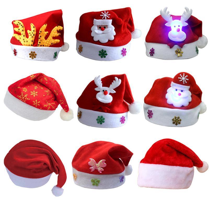 Dessin Animé Led Lumière De Noël Chapeau De Flanelle Tissu Père Noël Bonhomme De Neige Chapeau Lumineux Noël Decora Adulte Enfants Headwear Festival