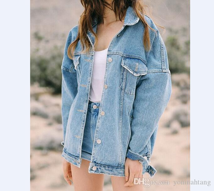 10a78e7427b Jeans Jacket Women Casacos Feminino Slim Ripped Washed Drop Shoulder Denim  Jacket Femme Vintage Bomber Jacket Basic Coats Jeans Jacket Women Jacket  Denim ...