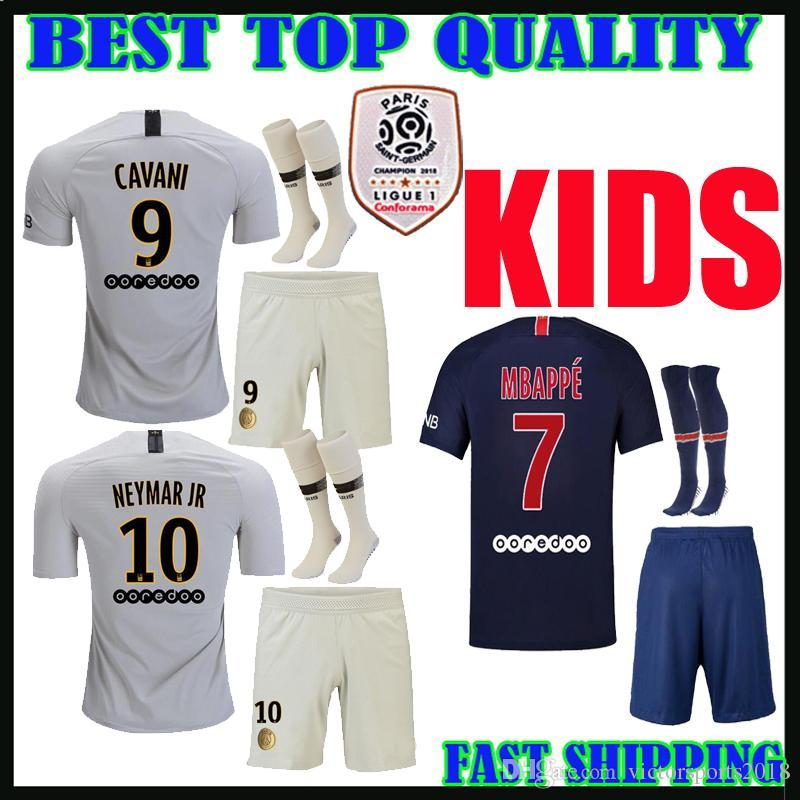 b54a5ca854667 Kids Kit 18 19 PsG Soccer Jersey Home Away 2018 2019 Mbappe DI MARIA ...