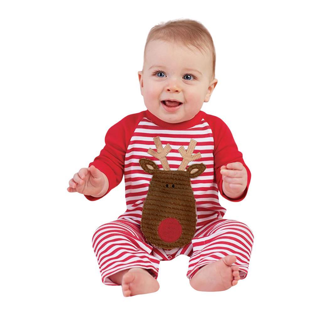 6586a86e8a75 2019 Newborn Baby Girls Boys Cartoon Christmas Deer Stripe Rompers ...