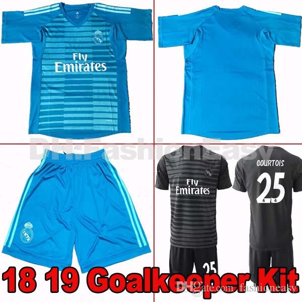 2018 2019 Real Madrid Home Away Soccer Jersey 18 19 Goalkeeper Kit ... 4e5f7ee6d