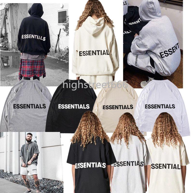 a0d3d5d055 FEAR OF GOD fog Essentials 18ss fog tee long sleeve T-shirt hoodie Round  collar cotton man women clothes casual shorts
