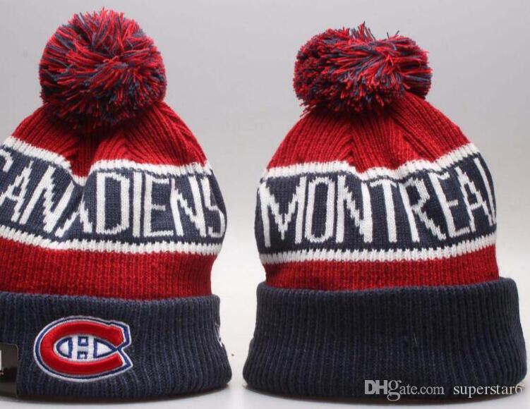9596b8aa80b Top Selling Canadiens Beanie Beanies Sideline Cold Weather Reverse Sport  Cuffed Knit Hat With Pom Winer Skull Caps Summer Hats Funny Hats From  Superstar6