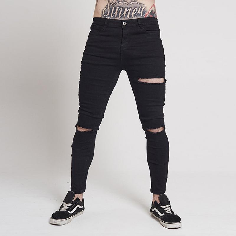 9b90f89637 Compre Negro Ultra Ripped Skinny Jeans Hombres Elástico Hip Hop Biker Jeans  Hombre Destruido Pantalones Slim Fit Spandex Cotton UK Market A  53.47 Del  Dayup ...