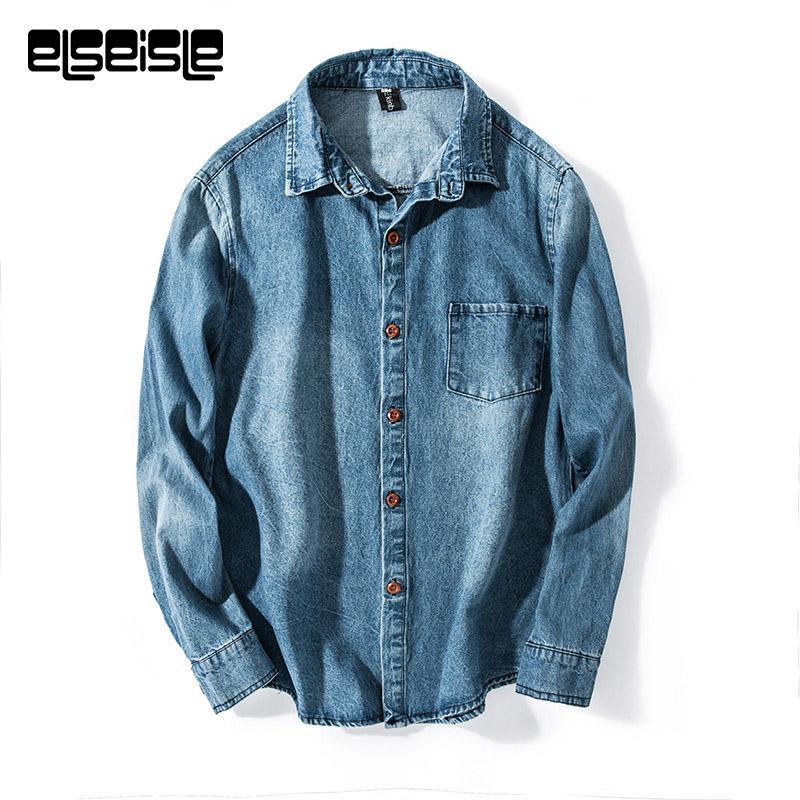 2019 Blue Vintage Denim Shirt Men Jeans Shirts Dress Long Sleeve