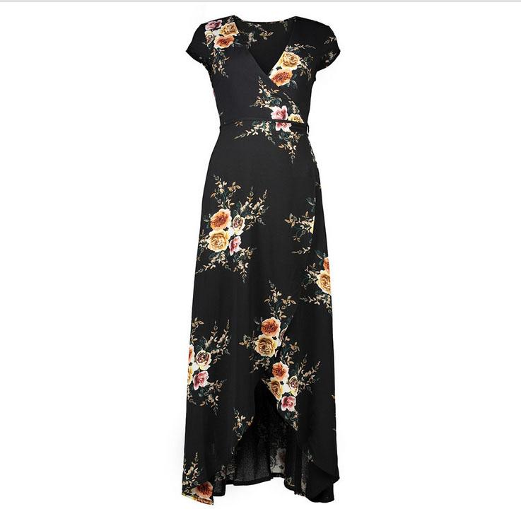 European And American Style New Women V Neck Summer Print Fly ...