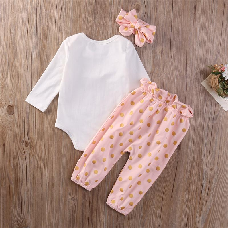 Emmababy Cute Newborn Baby Girl Clothes Bebe girls Rabbit Romper +Gold Dot Pant Headwear Outfit Kids children baby Clothing set