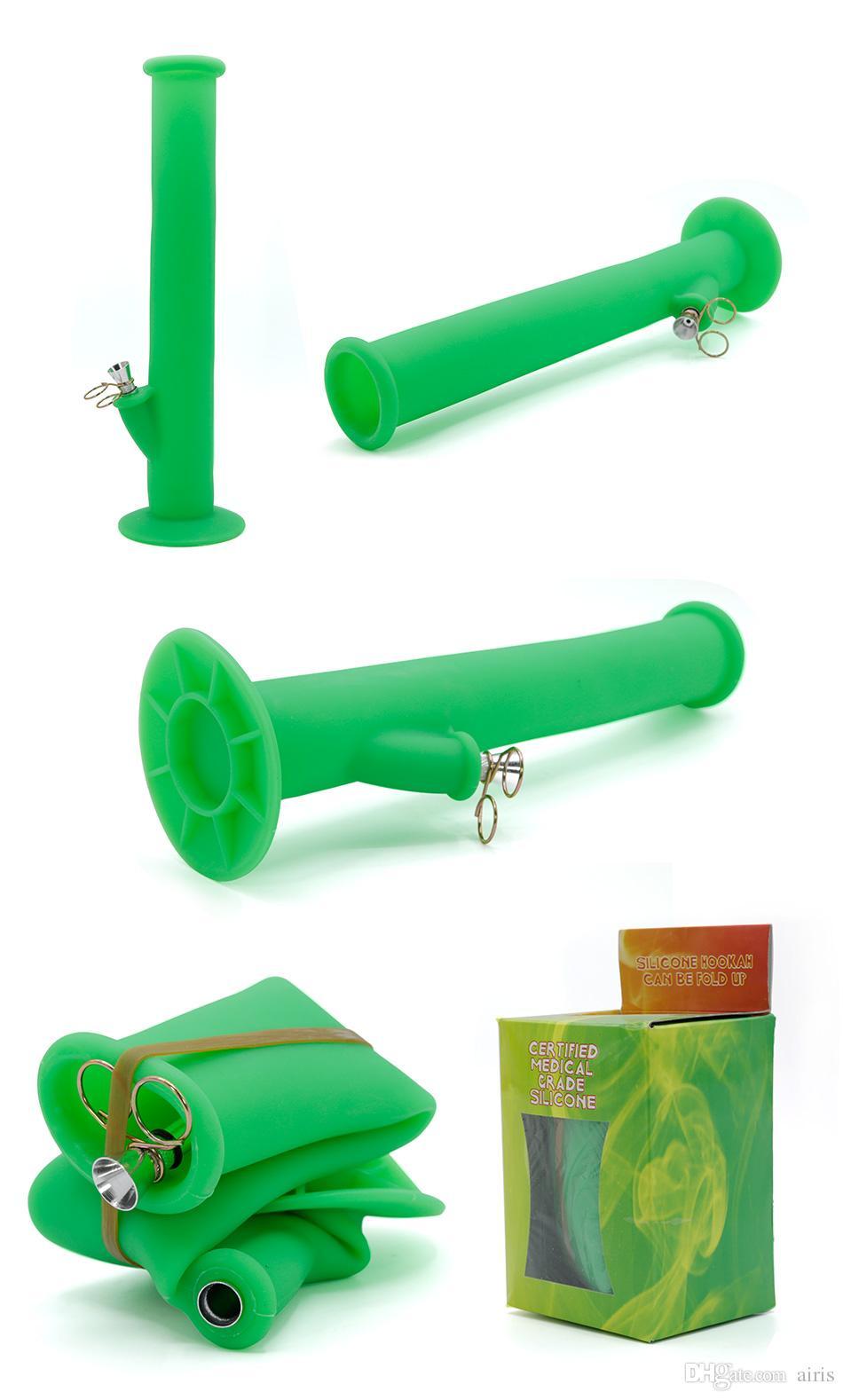 Haute Qualité Couleur unique Multi couleurs Grand Portable Pliable Silicone Tabac À Fumer Tuyau incassable Percolateur Bong OEM journal