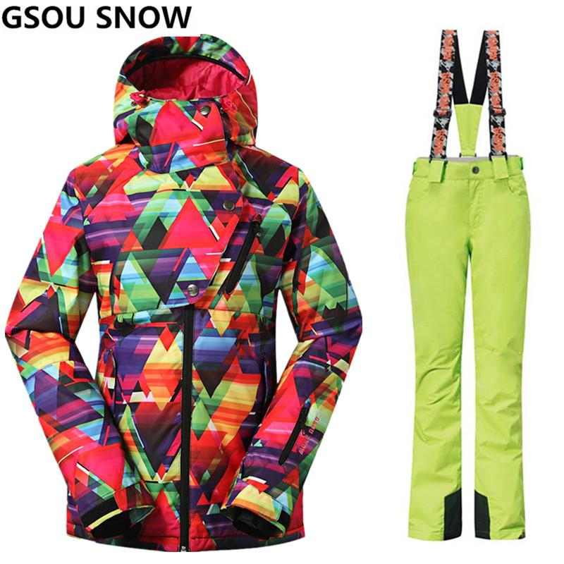 Gsou Snow Brand Ski Suit Women Ski Jacket Pants Winter Outdoor Waterproof  Skiing Suit Snowboard Sets Jacket Pants Sport Clothes Canada 2019 From  Pothos 3f1de60c3