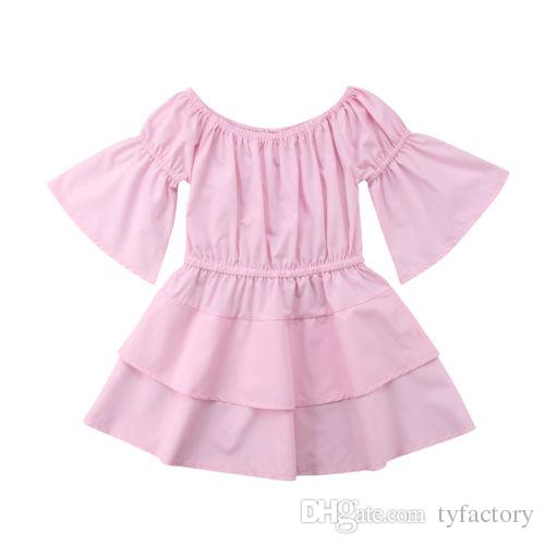 Kids Baby Girls Pink Solid Color Off Shoulder Dress Kid Clothing Princess Party Pageant Holiday Tutu Dresses Children Girls Vestidos 1-6Y