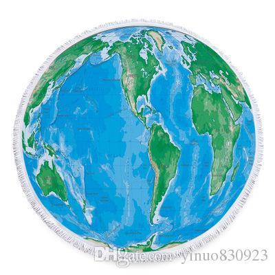 Round Globe Map.New World Map 150cm Round Beach Towel With Tassels Microfiber Large