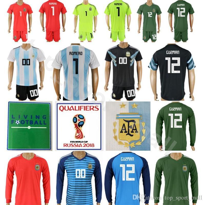 96cacaad870 2019 Argentina 2018 World Cup Soccer 1 Nahuel Guzman Jersey Men Goalkeeper  23 Willy Caballero 1 Sergio Romero Football Shirt Kits Set With Short From  ...