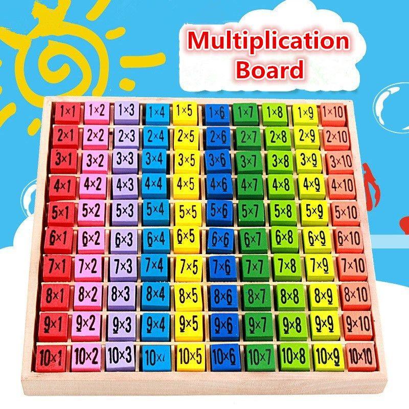 Çarpım Tablosu Matematik Oyuncaklar 10x10 Çift Yan Desen Baskılı Kurulu Renkli Ahşap Şekil Blok Çocuklar Yenilik Öğeleri T2I165