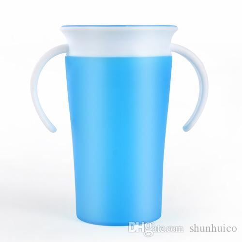 El bebé ahueca la botella respetuosa del medio ambiente mágica de los cabritos de la taza de consumición de la bebida con el grado alimenticio de la botella del entrenamiento del bebé del handgrip