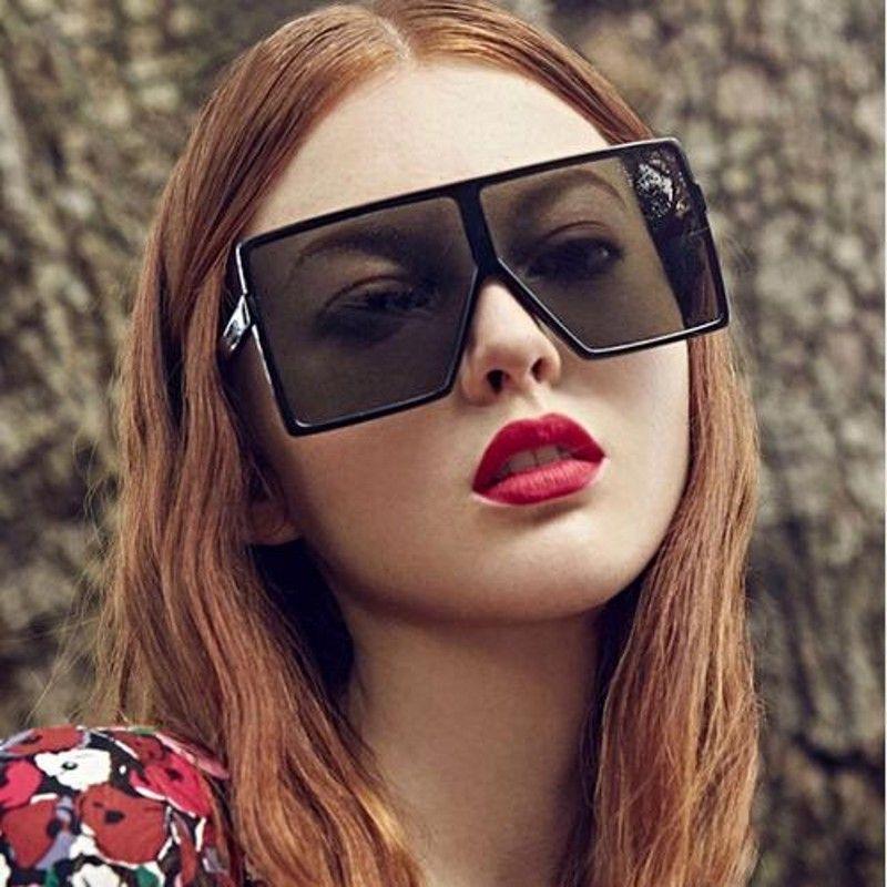 dbf7b29ed6 Yaobo Flat Top Oversized Square Sunglasses Women Luxury Brand ...