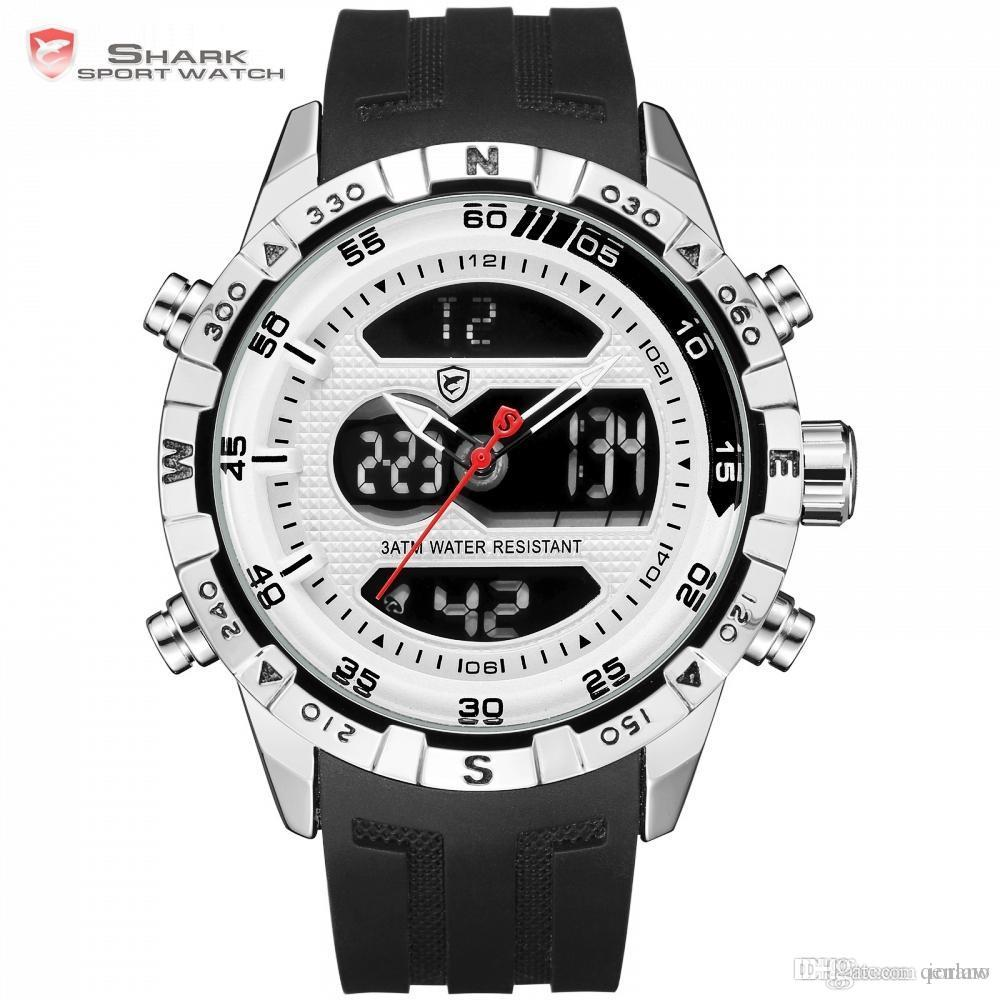 507215a72eb Hooktooth SHARK Sport Watch LCD Auto Date Alarm Silicone Band Stopwatch Dual  Time Mens Relogio Quartz Digital Wrist Watch  SH595 Online Watch Shopping  Watch ...