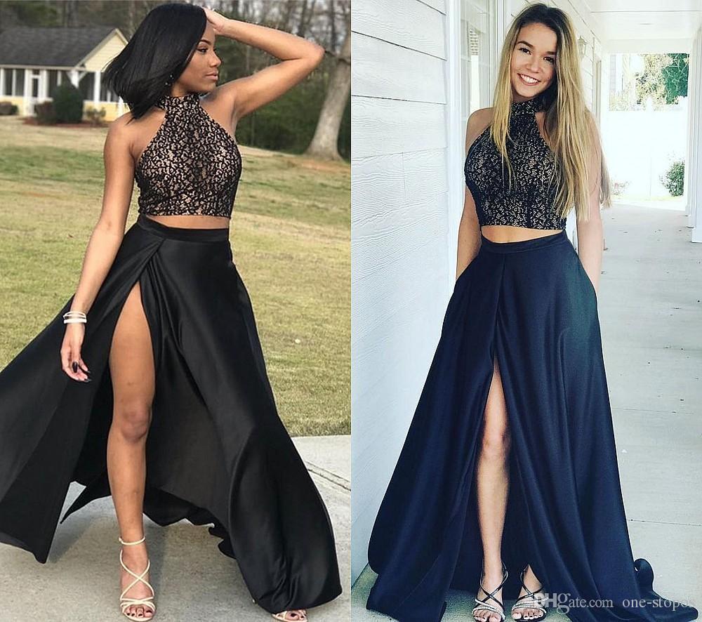 2018 Two Pieces Arabic Black Prom Dresses Halter Lace Evening Dress ...