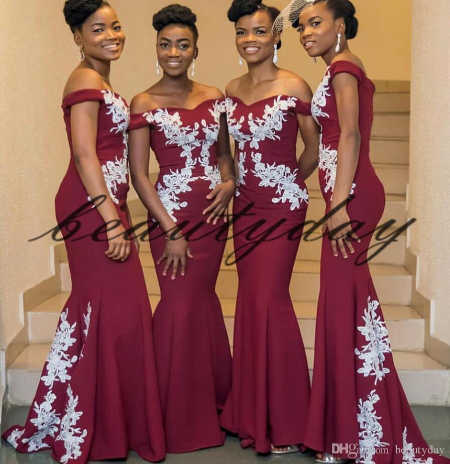 57541e79ab Maroon Lace Bridesmaid Dresses 2019 New African Style For Nigerian Maid Of  Honor Gowns Formal Wedding Party Guest Dress vestidos de fiesta