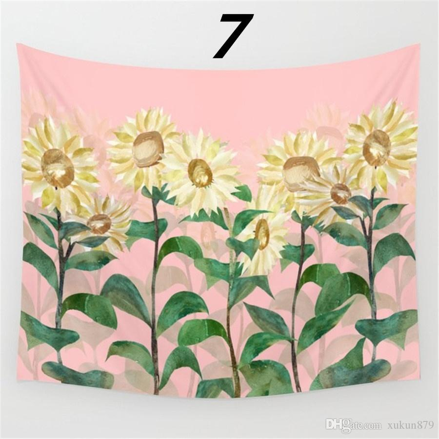 51x59 Inches Summer Fashion Watercolor Sunflower Pattern Print Polyester Wall Hanging Tapestry Summer Beach Towel Shawls Yoga Mat Home Art