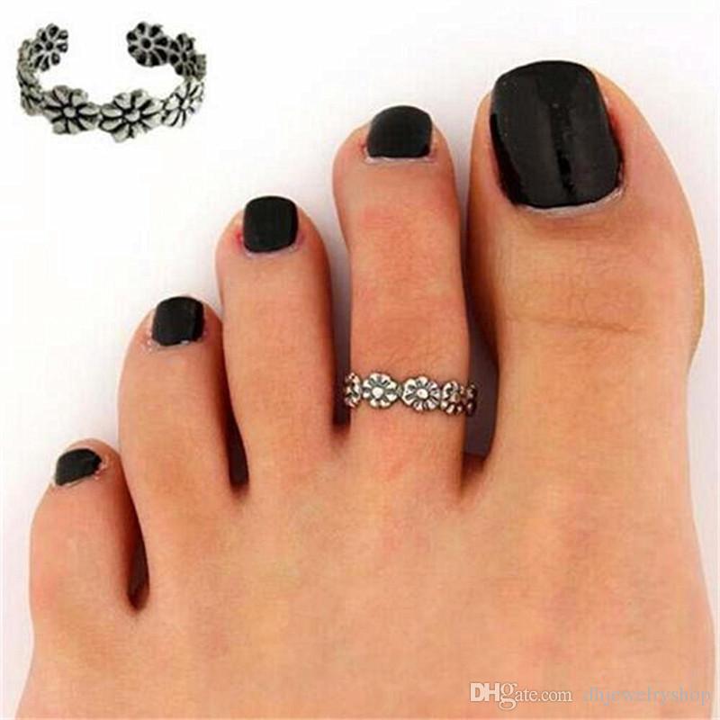 12 шт. / Компл. Знаменитости женская мода палец на ноге регулируемая нога палец пляж ювелирные изделия серебро