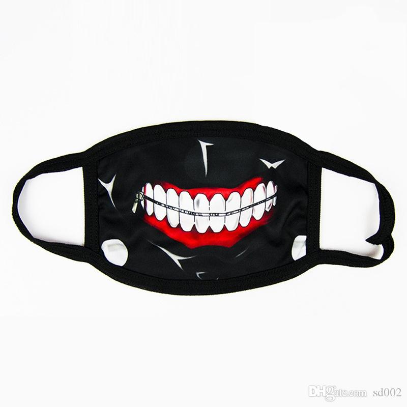 Horror Halloween Cosplay Masquerade Half Face Cotton Funny Warm Mouth Mask Anti Dust Comic Black Creative Masks 2 4qk jj