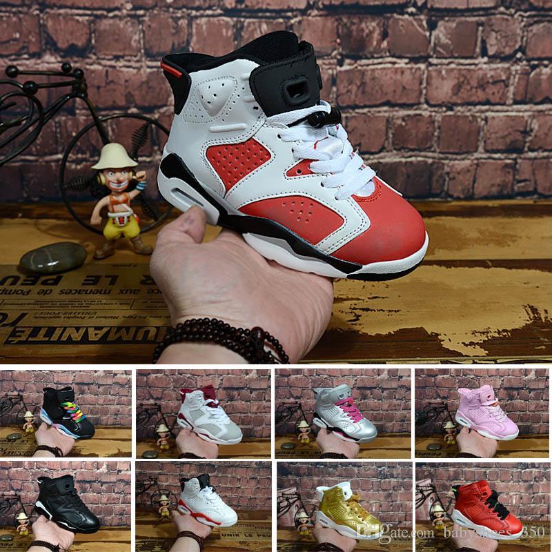 03c4b5467fbe0 Compre Nike Air Jordan 6 12 13 Retro Venta Al Por Mayor Nuevo Descuento  Para Niños 6 Zapatos De Baloncesto Del Bebé Unc Oro Negro Niño Rojo 6s  Niños ...