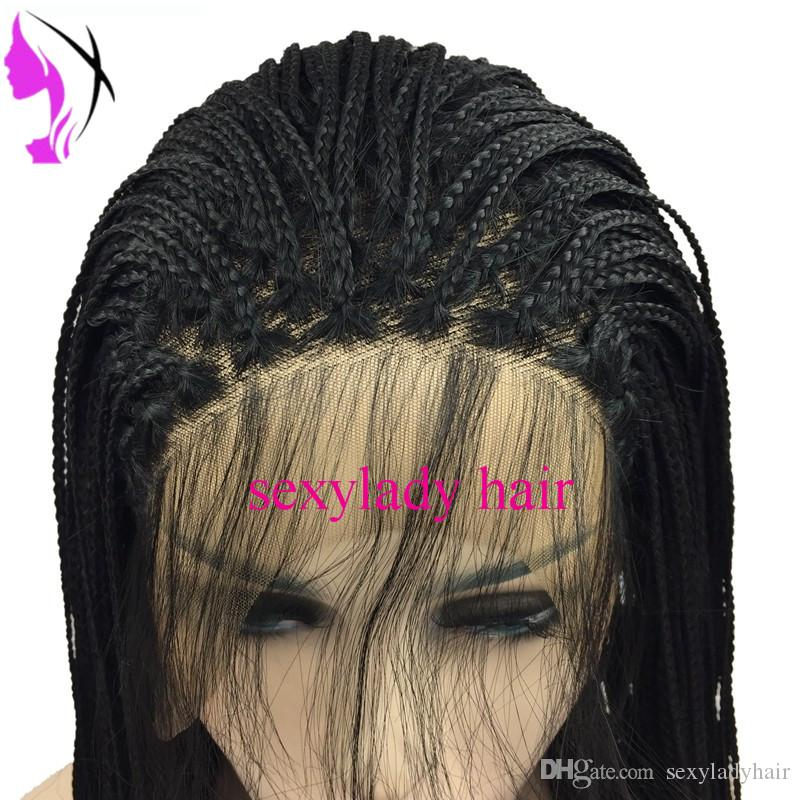 Synthetic lace front wig black/dark brown micro braided wig with for women heat resistant fiber box braid wig glueless