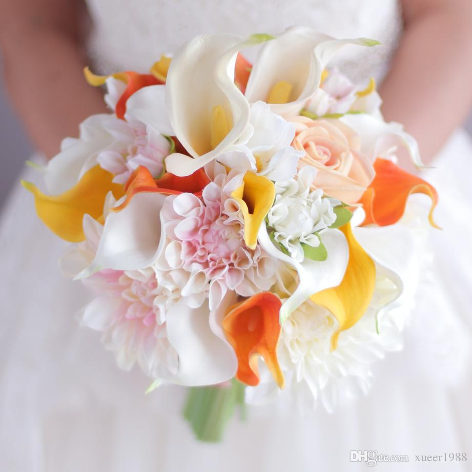 Yellow orange calla lily bouquet dahlia flower bouquet wedding bride yellow orange calla lily bouquet dahlia flower bouquet wedding bride bridal artificial flowers handmade decoration bouquets wedding flowers lilies wedding izmirmasajfo