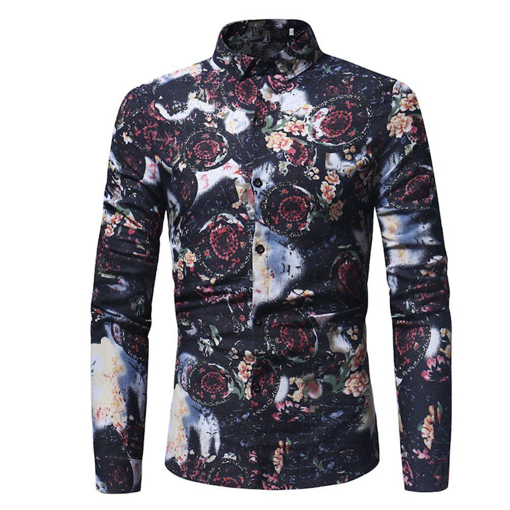 c8786a1fa 2018 New Black Retro Shirts Grass Flowers Printed Male Blouse Fashion  Streetwear Europe Slim Blusa Spring Long Sleeve Tops 3XL