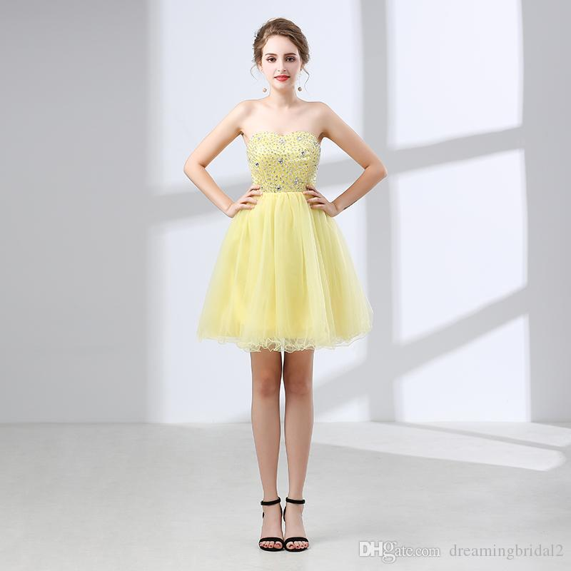 652e200e0fe Robe de cocktail jaune clair – Robes de soirée élégantes populaires ...
