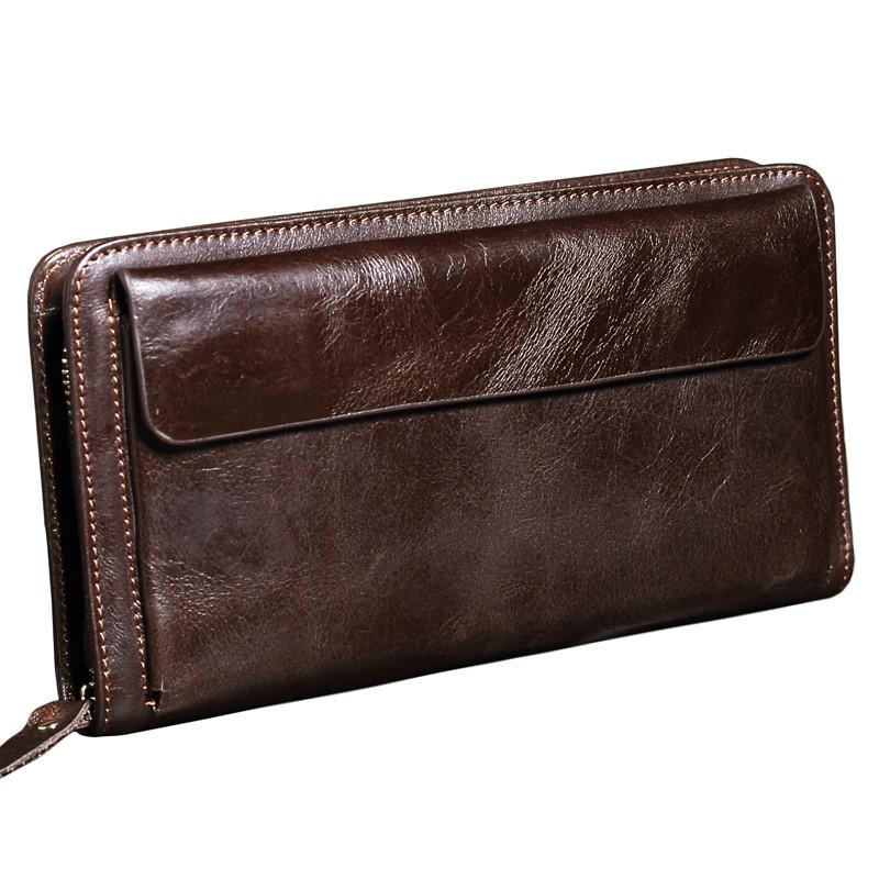 6ec678976 Compre NUEVO Hombres Cartera De Cuero Genuino Marca Vintage Organizador  Carteras Male Clutch Bag Zipper Monedero Teléfono Celular Monedero Largo A  $20.44 ...