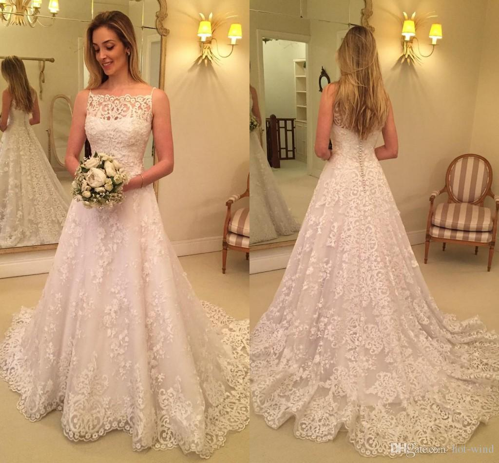 Discount 2018 Vintage Country Style Wedding Dresses Bateau Strapless ...
