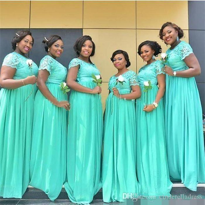 New Cheap Bridesmaids Dresses 2019 Mint Green Chiffon Lace