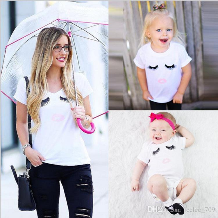 7c04c08a5e703 Acheter Maman Fille Cils T Shirt Bébé Barboteuses Assorties Vêtements Mère  Enfants T Shirt À Manches Courtes Jumpsuit Chemises Vêtements D été De   3.54 Du ...