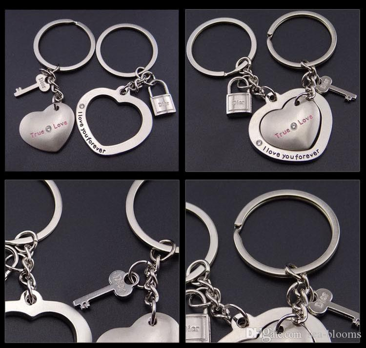 Custom Logo Creativity Couple Keychains Loving Lock Key Heart Shape Charm Metal Pendant Keyfob Keyring Lovers Couples Gift Free DHL G652Q