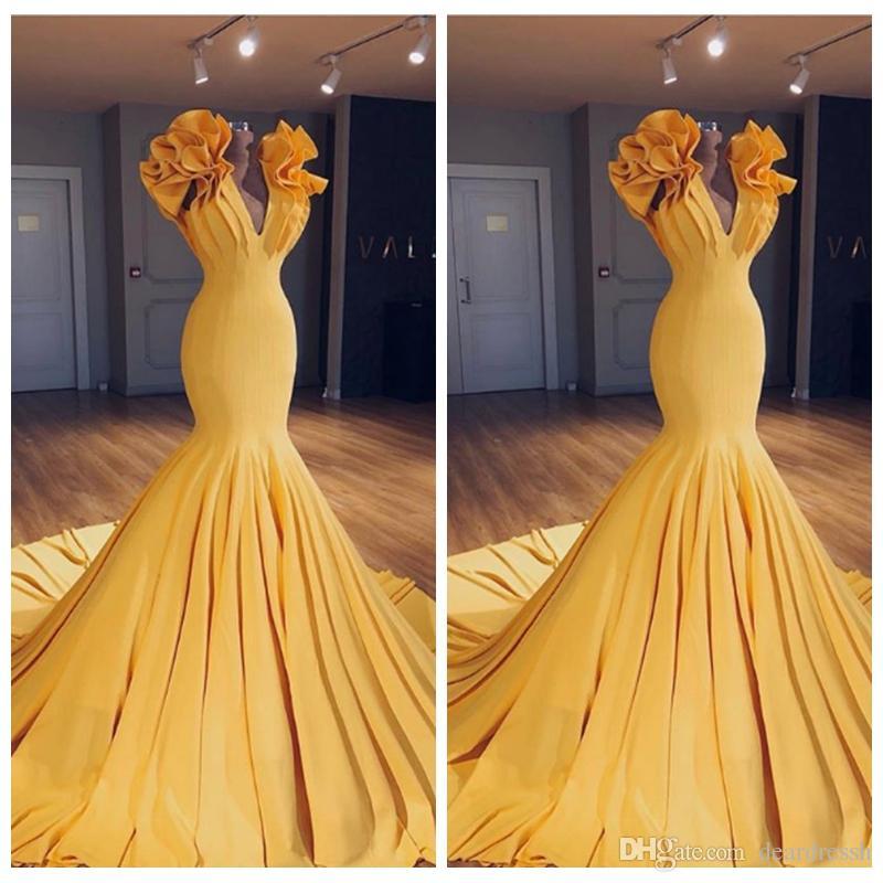 Beautiful Wedding Dresses 2019: Beautiful Slim Mermaid Prom Dresses 2019 Custom Pleated