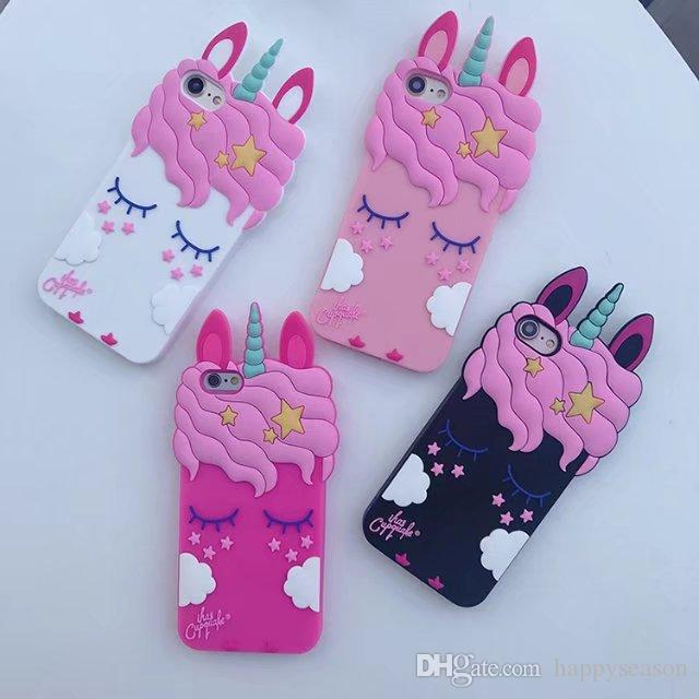 reputable site 063d9 58515 3D Unicorn Phone Case Soft TPU Cartoon Eyelash Horse Back Cover for iPhone  Samsung S9 S8 Plus S7edge J7 J5