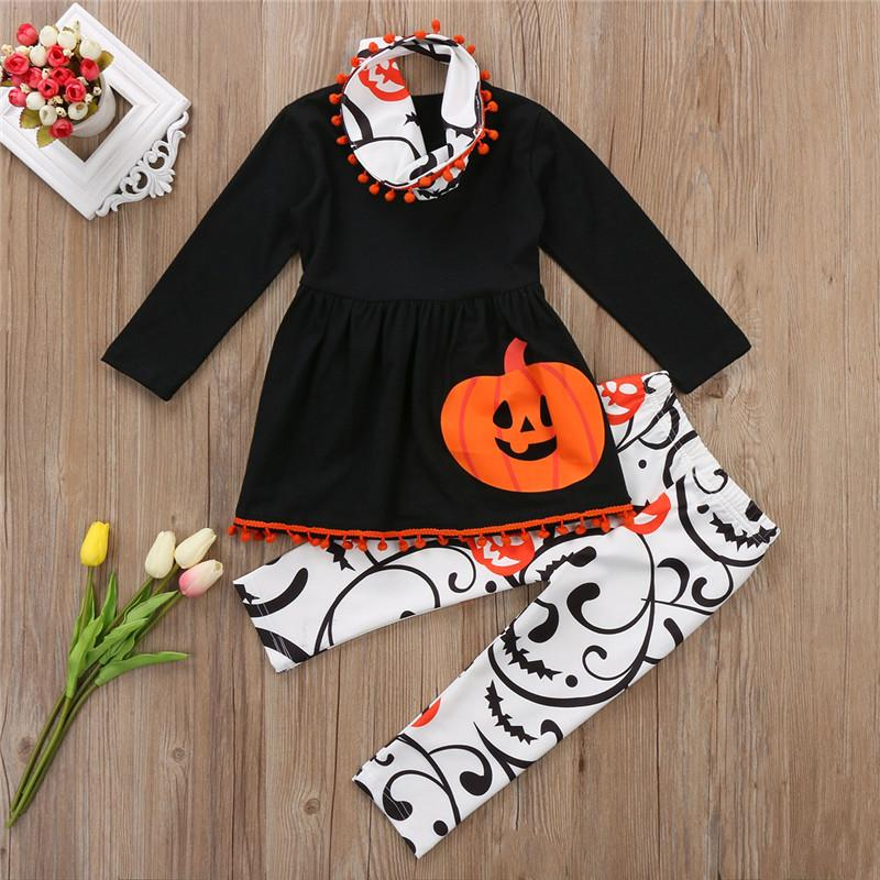 f57f6be713b11e 2019 Cute Halloween Newborn Baby Girls Kids Cartoon Pumpkin T Shirt Tops    Long Pants Leggings   Headband Outfits Set Clothes From Luckyno